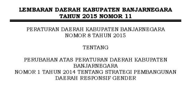 PERUBAHAN PERDA 1 TAHUN 2014 TTG PEMBANGUNAN RESPONSIF GENDER BANJARNEGARA