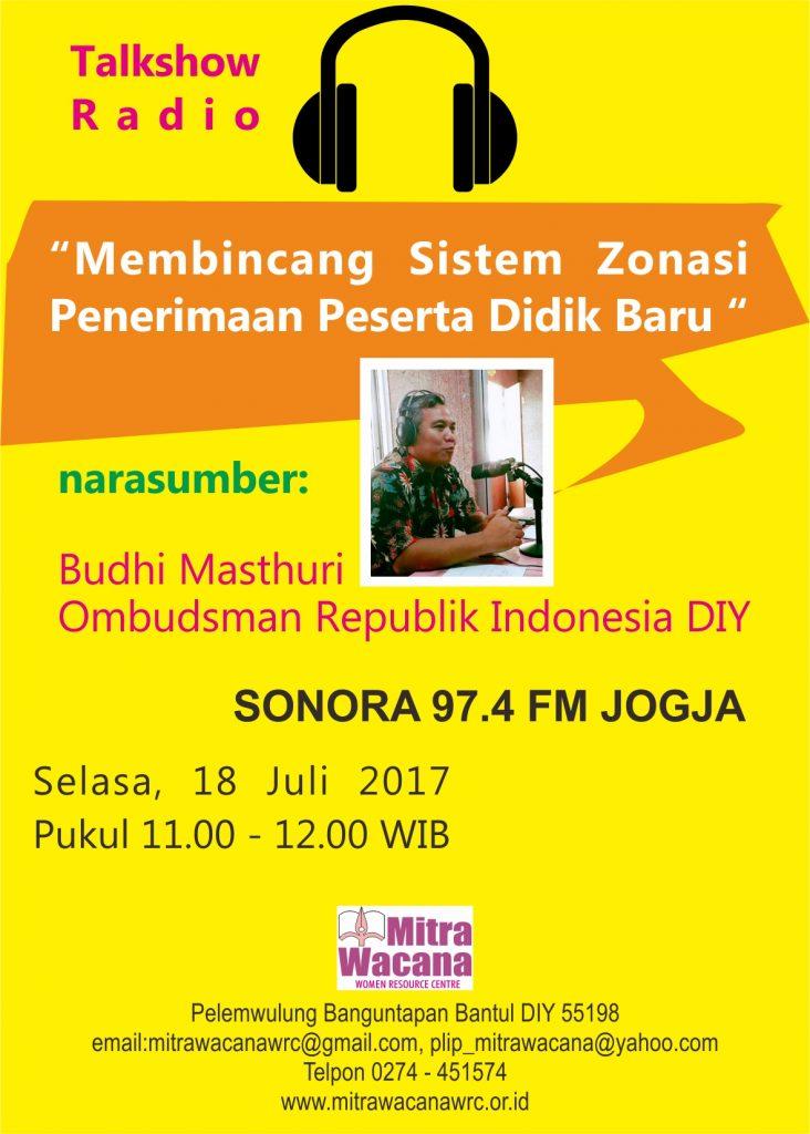 Talkshow 18 Juli 2017 Radio sonora FM. Desain oleh wahyutnt