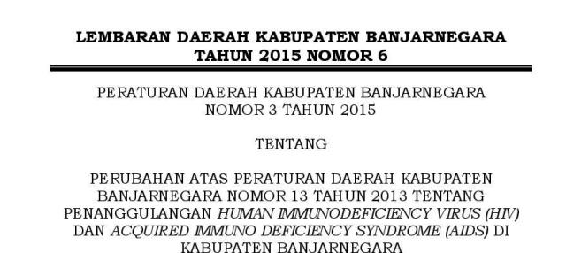 PERUBAHAN PERDA 13 TAHUN 2013 TTG HIV AIDS BANJARNEGARA