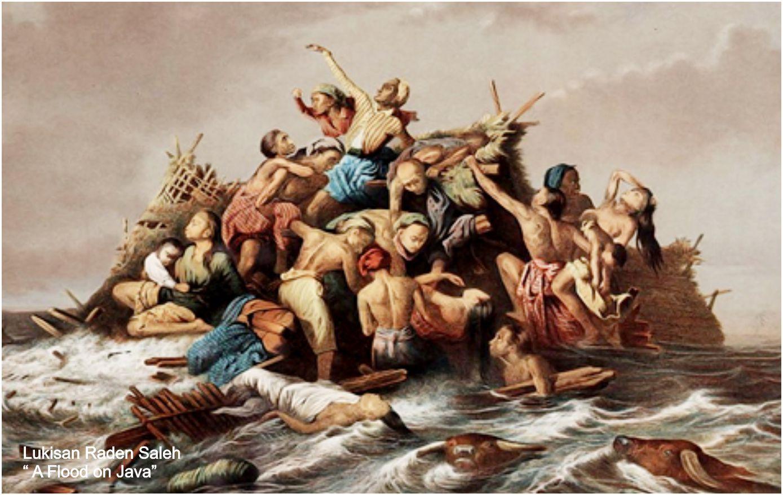 Lukisan raden saleh tentang bencana banjir yang terjadi di tanah jawa
